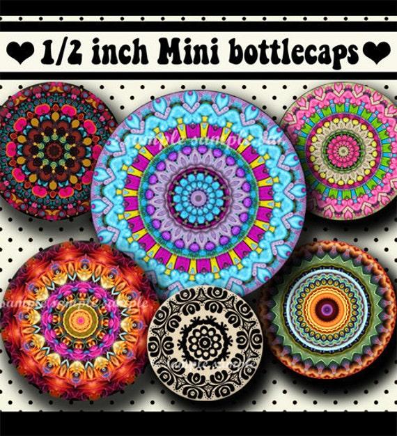 INSTANT DOWNLOAD Mandalas (371) 4x6 Digital Collage Sheet 1/2 half inch ( 0.5 inch size ) mini bottle cap images resin pendants glass tiles