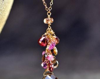 Sapphire, Smoky Quartz, and Tourmaline Pendant Necklace