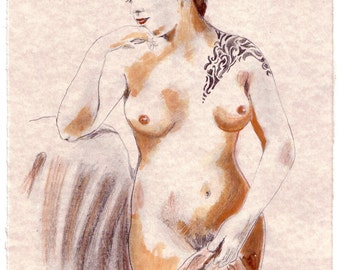 Nude Girl with Tribal Tattoo, Original Handmade Sanguine Sketch on Parchment paper, 8.5x11, Free Shipping in USA.