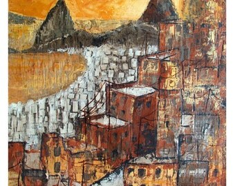Rio de Janeiro, Brazil, Favela above Botafogo Bay Sugar Loaf, Mixed media,Original illustration Artist Print Wall Art, Free Shipping in USA.