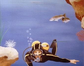 Scuba diving sign, Blue Ocean under the sea, Original illustration Artist Print Wall Art, Free Shipping in USA.