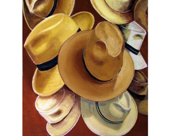 PANAMA Hat Central America Straw Borsalino, Original Illustration, Travel Poster, Artist print Wall Art, Free Shipping in USA.