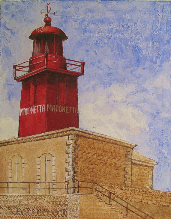 """Mediterranean Lighthouse Bonifacio Corsica France, Original Painting on stretched canvas Mixed Media Writing 22""""x28"""", Free Shipping in USA."""