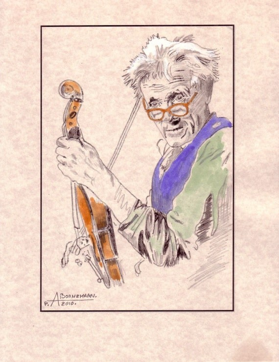 Old Folk and Violon. Handmade Colored Sketch on Parchment Paper. 8.5x11