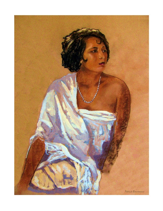 Woman with Pearl Necklace at Turkish Bath Original illustration Art Print, Free shipping in USA.