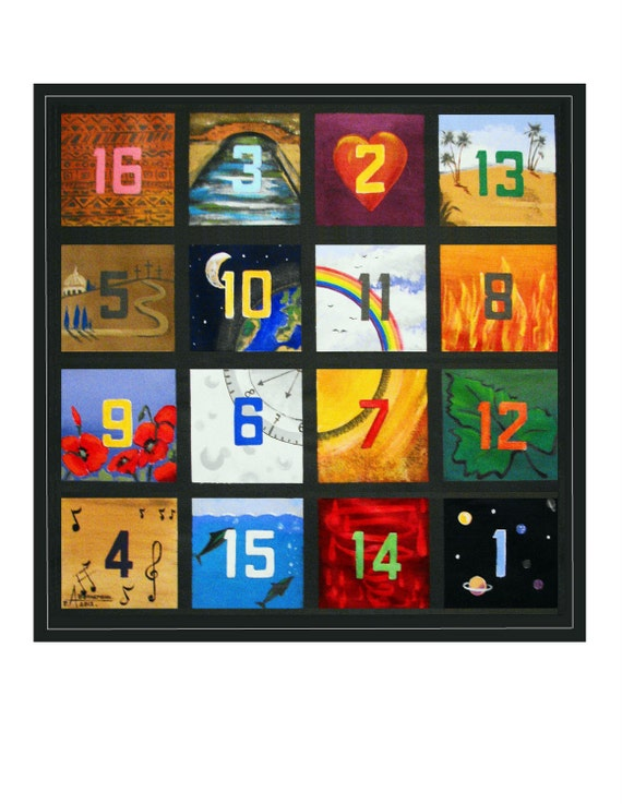 Magic Square, Symbolism Life Love Hope, Mathematics number 34, Original illustration art Print Wall Art, Free Shipping n USA.