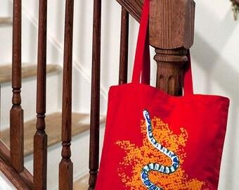 Milk Snake Tote Bag (4 Color on Red) Hand-Pulled Screenprint, Reptile Gift Snake Bag