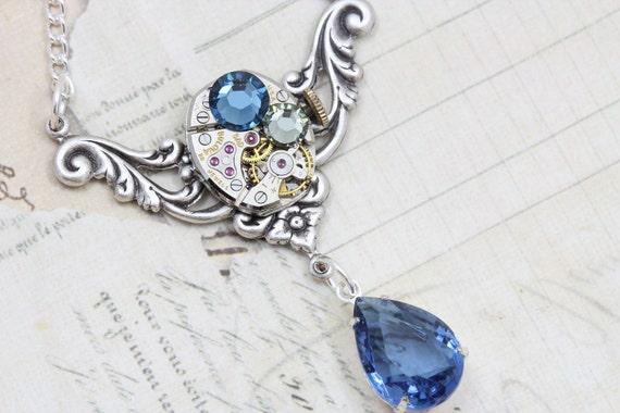 Steampunk Jewelry Steam Punk Necklace - Clockwork Navy Montana Blue - Handmade by Inspired by Elizabeth
