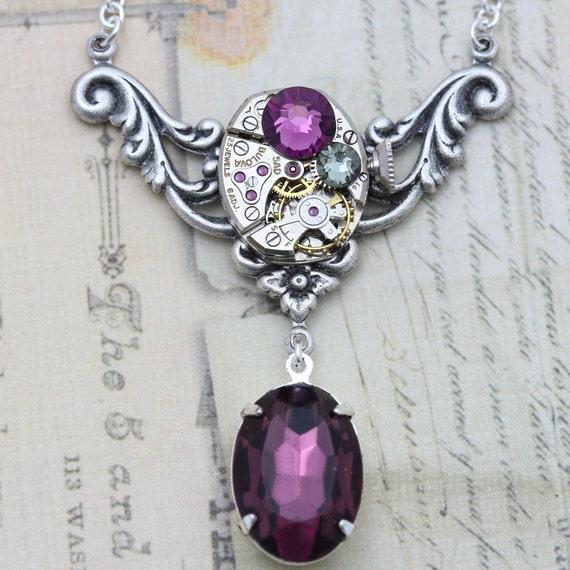 Purple Crystal Necklace Steampunk Necklace Steampunk Jewelry - Amethyst Purple Vintage  - February Birthstone Unique Necklaces Swarovski