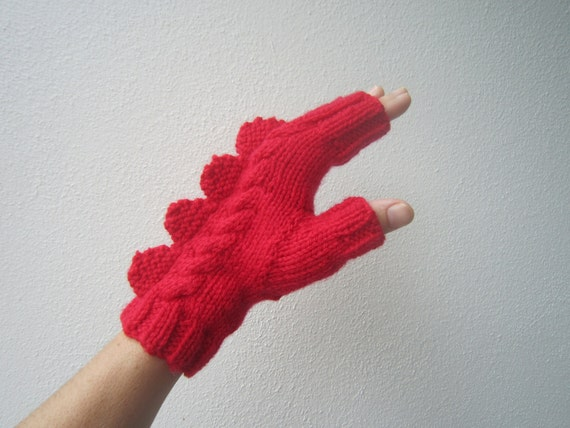 Red dragon dinosaur or monster fingerless mittens for large female adult hand. Very soft  pure Australian wool
