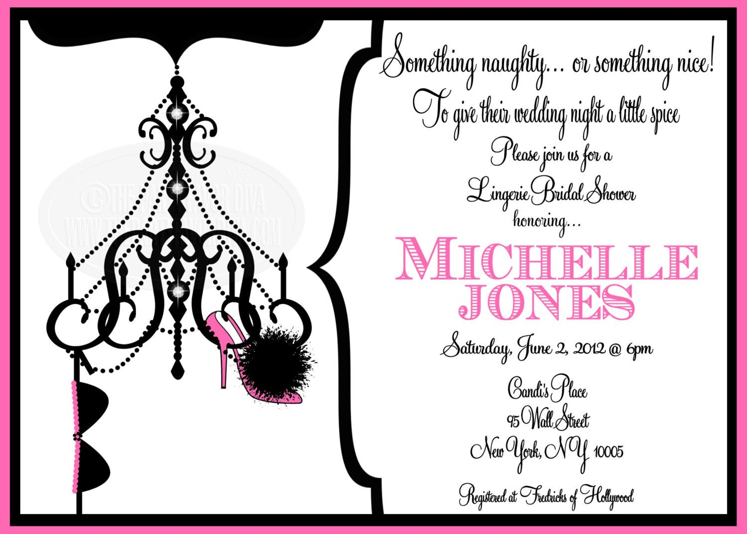 Items similar to chandelier lingerie bridal shower invitation on etsy for Lingerie bridal shower invitations