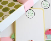 Sweet Cupcake Personalized Stationary set - with custom box