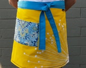 Handmade Turquoise, yellow half apron, large paisley pocket, gardening, waitress, artist, kitchen, teacher