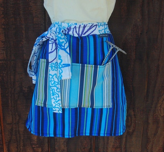 Sky Blue apron, waitress style, striped pocket, long ties, royal blue, woman's half apron