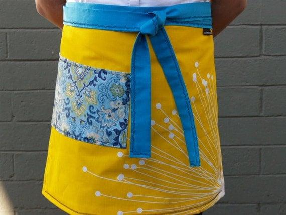 Handmade Turquoise, yellow half apron, large paisley pocket, gardening, waitress, artist, kitchen, teacher