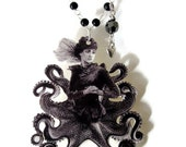 Surreal Octopus Necklace, Lady Cthulhu, Statement Jewelry, Avant Garde, Steampunk, Nautical, Rosary Style Chain, Black and White