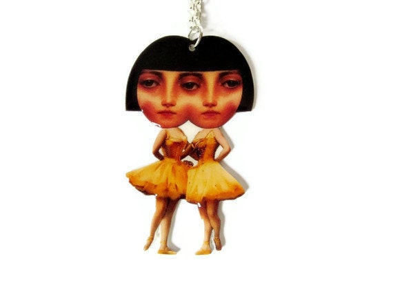 Conjoined Twins Necklace Yellow Ballerina Siamese Black Circus Sideshow Freaks Carnival Jewelry