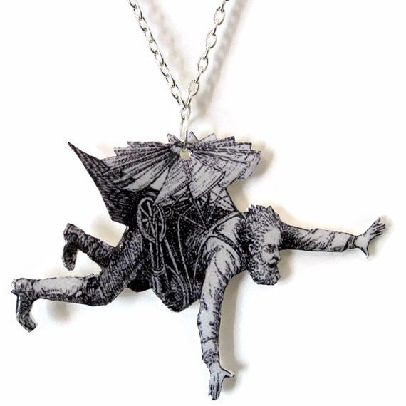 Steampunk Man Necklace Flying Machine Necklace Airplane Victorian Humor Plastic Statement Jewelry steampunk buy now online