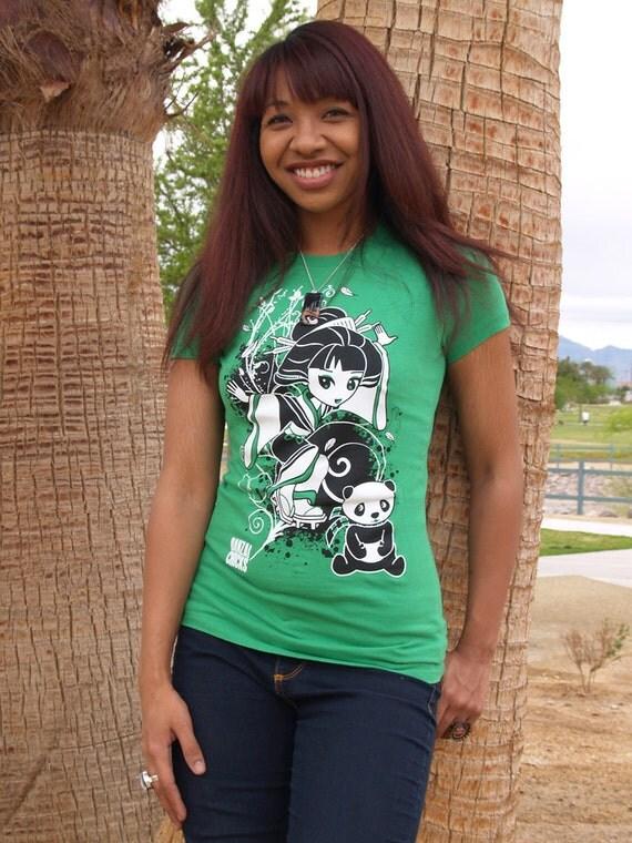 Geisha Chibi n Panda - Silkscreened Ladies Green T shirt - Preshrunk Cotton Fitted - Cute Kawaii - Blow Out Sale