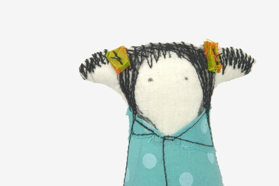 Reserved for Kate ---  Stuffed family doll, minor little girl with pigtails wearing a turquoise dress with dots - handmade fabric doll