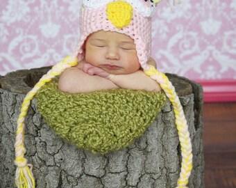 Hootie Patootie Owl In Pink Newborn Hat