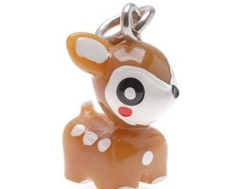 SALE! 3-D Hand Painted Resin Fawn Charm, Qty 10