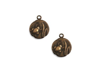 Vintage Brass Round Teensie Frog Charms Qty: 2