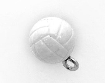 3-D Hand Painted Resin Volleyball Charm, Qty 1