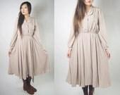 WoozWass Vintage Japanese 1960s Beige Folded Collar Pearl Deco Wide Flare dress Sz S-M