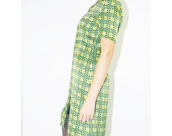 WoozWass Vintage 80s Silk Green and Yellow Patterned Mini Shirt Dress short sleeves Size S,S-M