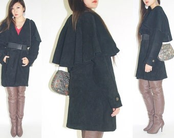 WoozWass Vintage 1970s Japanese Genuine Black Suede Leather Cape shoulder Jacket/Coat Oversized