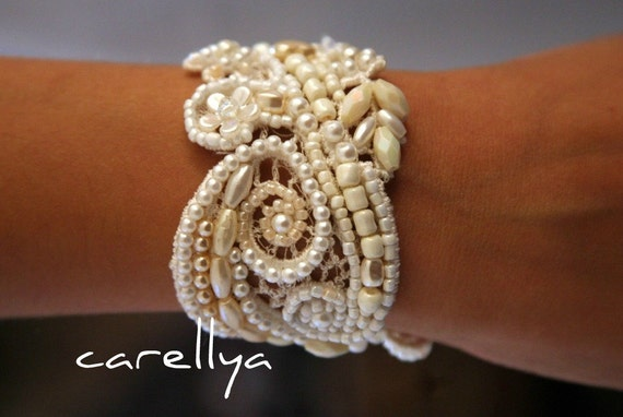 BRIDAL CUFF BRACELET ivory lace cuff bracelet beaded lace bracelet bead embriodered unique bridal Jewelry for brides ivory pearl bracelet