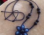 Fiber choker DARK BLUE FLOWER, macrame necklace with natural seeds handmade by ARUMIdesign