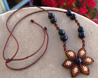 Macrame CHOKER CHOCOLATE FLOWER, fiber necklace with natural seeds