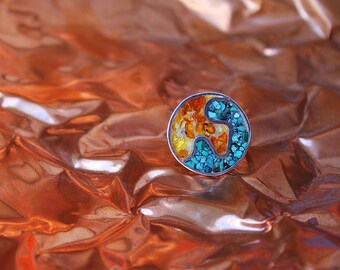 Contemporary sterling SILVER coctail RING with amber and turquoise MOSAIC, made to order
