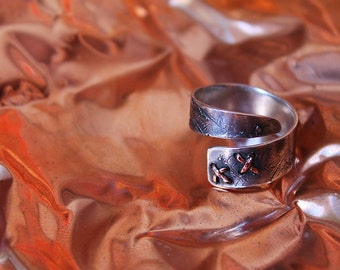 Adjustable sterling SILVER RING ROUGH with copper sewing, made to order