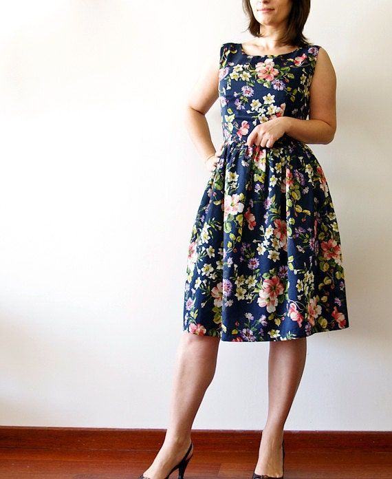 Vintage inspired dress bridesmaid dress Midnight in the Garden - Made to measure -Reserved for Joanne