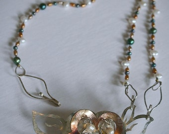 Necklace Sterling Silver Pearls Flower