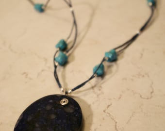 Blue Necklace Sterling Silver Tourquoise