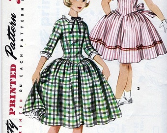 Simplicity 1397 Vintage 50s Sewing Pattern for Girl's Dress - Uncut - Size 12 - Breast 30