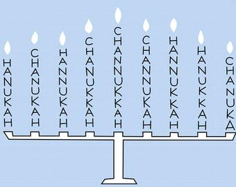 Hanukkah Greeting Card, 5x7 Blank Chanukah Menorah Card, Choice of Color