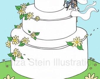 Custom Wedding Card, Congratulations, Spring, Summer, Daisies, Blank 5x7 Greeting Card