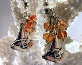 Witch Hat Charm Earrings - Tangerine Crystal with Surgical Steel Posts