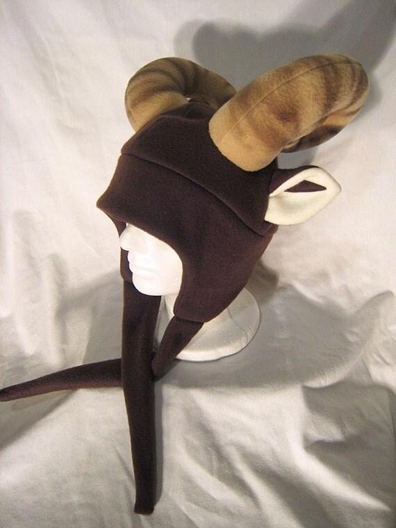 Deluxe Ram Hat - Spiral Horned Gijinka-style Fleece Hat
