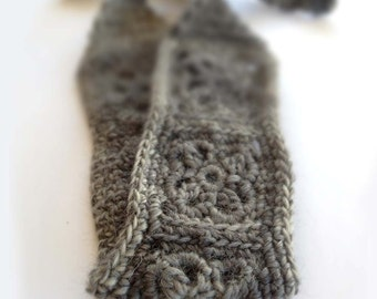 Crochet Headband, Boho Hairband - Soft Gray Acrylic