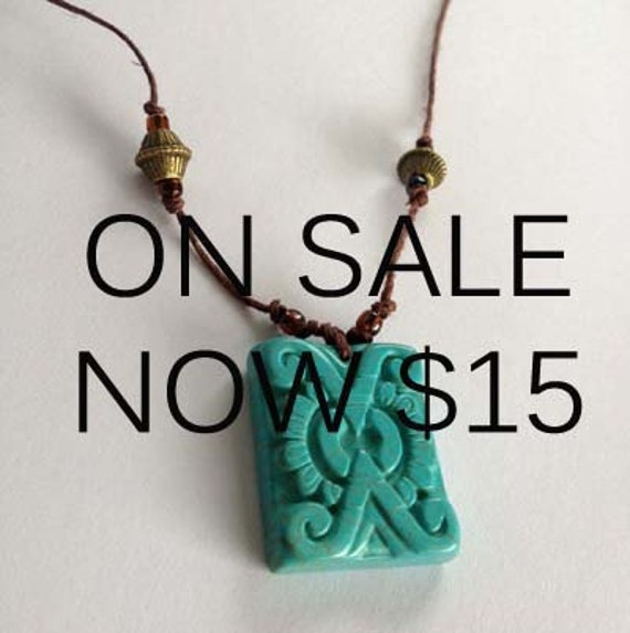 ON SALE - Hemp Cord Necklace With Inca-Like Turquoise Stone Pendant