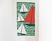 Vintage Art Print Sailboats on a Lake Woodcut Book Illustration Orange Red Green Black White Water