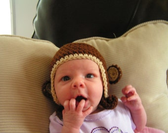 Baby Monkey hat for Newborn baby to 12 month infant