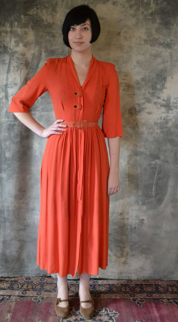 1940's Amazing Tangerine Dress