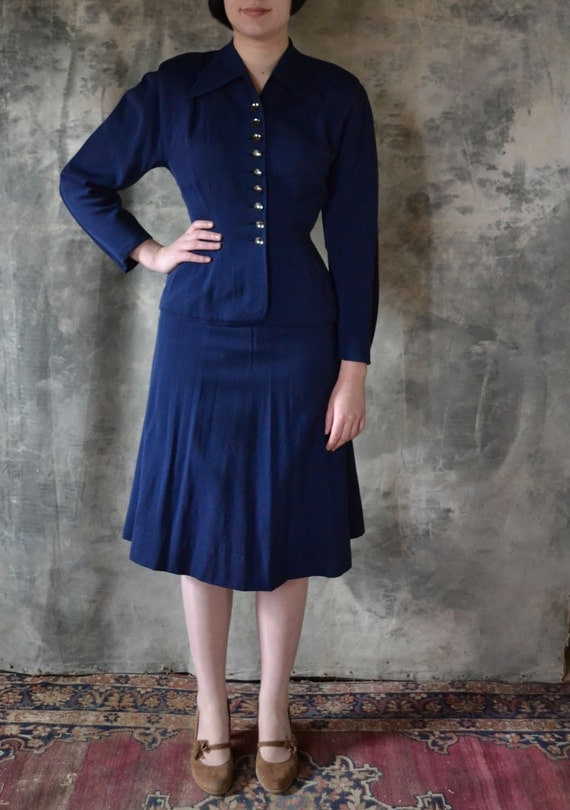 Perfectly Tailored 1940's Navy Blue Wool Gaberdine Suit